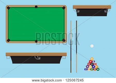 Pool table top side. Billiard table and snooker table game room snooker hobby game pool and leisure snooker competition. Vector flat design illustration