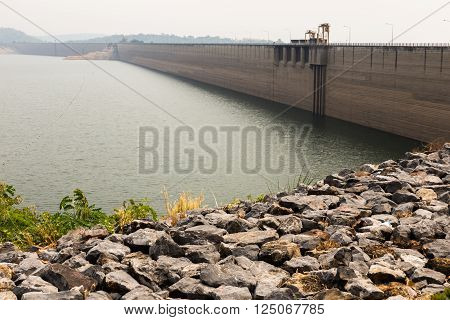 Khun Dan dam project fortress of  Nakhon nayok province in thailand