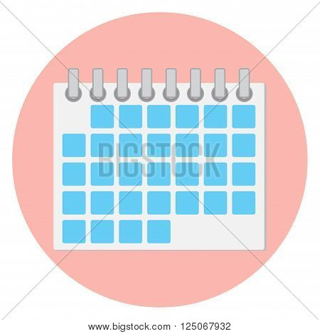 Calendar icon flat. Calendar page and monthly calendar date and reminder month icon. Vector flat design illustration
