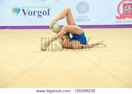 MOSCOW RUSSIA - FEBRUARY 19 2016: Bolotina Elena Belarus on Rhythmic gymnastics Alina Cup Grand Prix Moscow - 2016 in Moscow sport palace Luzhniki Russia
