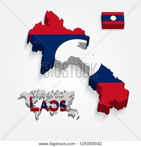 Laos ( People 's Democratic Republic of Laos ) ( map and flag ) ( transportation and tourism concept ) lao is one of AEC ( ASEAN Economic Community )