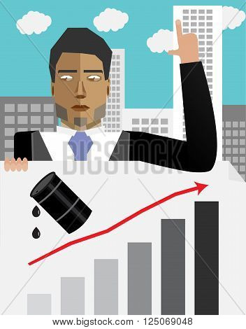 Businessman hold chart with up oil price. Barrel oil up price up and finance oil up graph oil up growth price oil. Vector flat design illustration