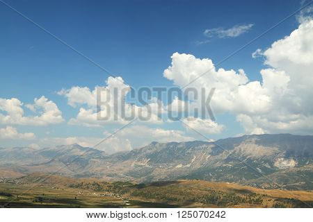 Panorama of mountains seen from citadel od Gjirokaster, southern Albania poster