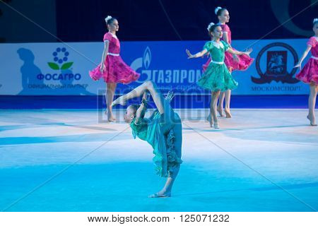 MOSCOW RUSSIA - FEBRUARY 21 2016: Unidentified dancer dance gymnastic team at the gala concert Grand Prix Moscow - 2016 in Moscow sport palace Luzhniki Russia