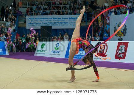 MOSCOW, RUSSIA - FEBRUARY 21, 2016: Staniouta Melitina, Belarus on Rhythmic gymnastics Alina Cup Grand Prix Moscow - 2016 in Moscow sport palace Luzhniki, Russia