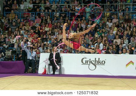 MOSCOW RUSSIA - FEBRUARY 21 2016: Minagawa Kaho Japan on Rhythmic gymnastics Alina Cup Grand Prix Moscow - 2016 in Moscow sport palace Luzhniki Russia