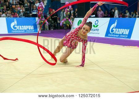 MOSCOW RUSSIA - FEBRUARY 21 2016: Son Yeon Jae Korea on Rhythmic gymnastics Alina Cup Grand Prix Moscow - 2016 in Moscow sport palace Luzhniki Russia