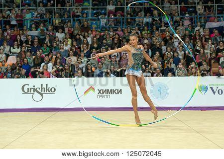 MOSCOW RUSSIA - FEBRUARY 21 2016: Soldatova Aleksandra Russia on Rhythmic gymnastics Alina Cup Grand Prix Moscow - 2016 in Moscow sport palace Luzhniki Russia