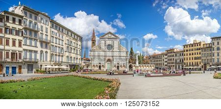 FLORENCE, ITALY - AUGUST 17: Piazza Santa Croce and Basilica of Santa Croce Augus 17, 2015 in Florence, Italy.