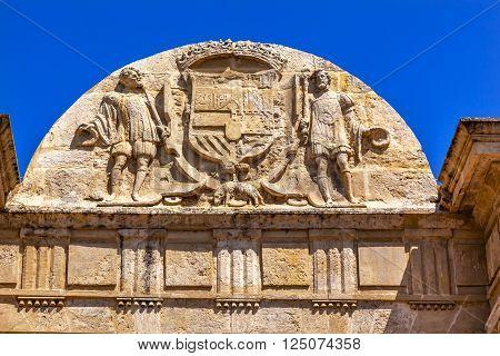 Ancient Roman Bridge Entrance Puerta del Puente Symbol Coat Arms Cordoba Spain Roman bridge was built in the 1st Century BC.