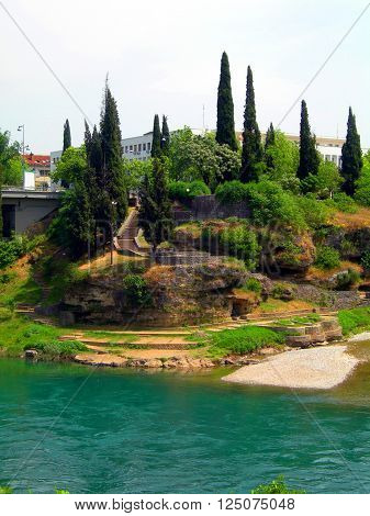 historic stairway and ruins of ancient fortress on River Moraca Podgorica Montenegro