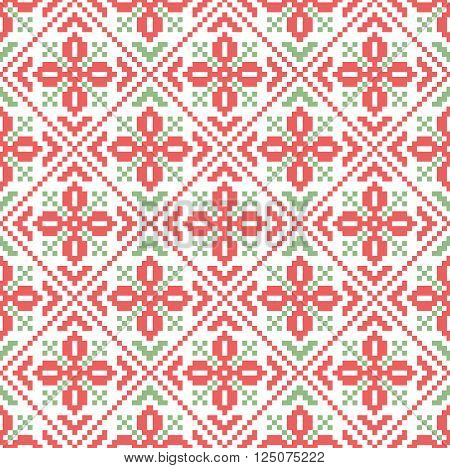 Cute ethnical traditional seamless pattern with sewing squares.