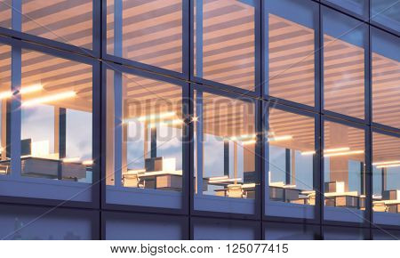 Closeup photo of skyscraper tower.High floor office, interior in evening time. Panoramic windows facade background, contemporary business center. Empty meeting room.Horizontal, flares. 3D rendering