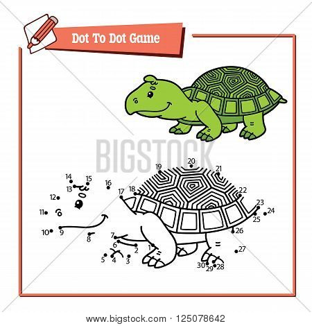 dot to dot turtle educational kid puzzle game. Vector illustration educational kids game of dot to dot puzzle with happy cartoon turtle for children