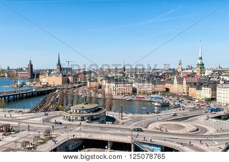 STOCKHOLM, SWEDEN - MAY 1: Aerial view from Katarina elevator of the Old Town on May 1, 2009 in Stockholm. The city is built on 14 islands and often called the Venice of the north.