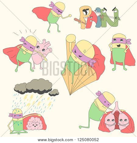 pills-superheroes protect heart, lungs and brain. vector illustration for kids