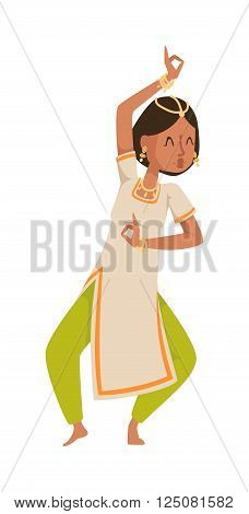 Indian dancer silhouette and indian cartoon dancer. Indian girl dancing show, dancer party asian movie dress costume. Ethnic indian costume. Indian dancer bollywood traditional party culture vector. Indian woman