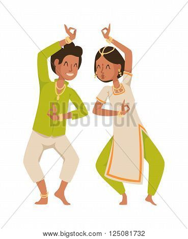 Indian dancer silhouette and indian cartoon dancer. Indian couple dancing show, dancer party asian movie dress costume. Ethnic indian costume. Indian dancer bollywood traditional party culture vector. Indian couple