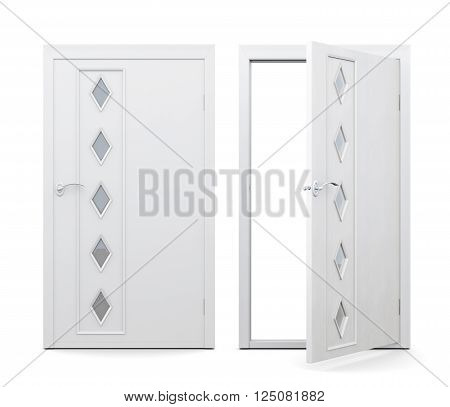 Open and closed door isolated on white background. 3d rendering. Door with decorative elements, with glass inserts.