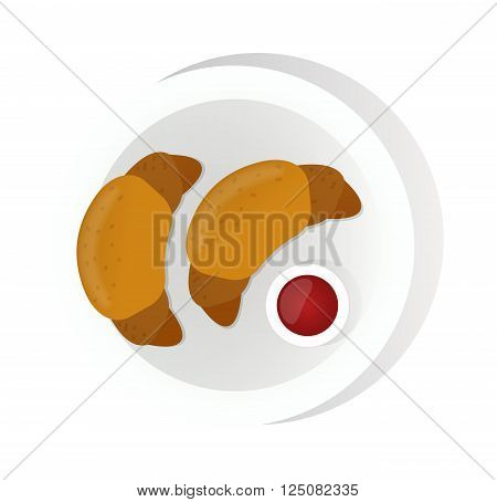 Croissant vector food vector isolated on white background. Croissant French breakfast on the plate. Croissant top view. Croissant vector illustration. Croissant isolated
