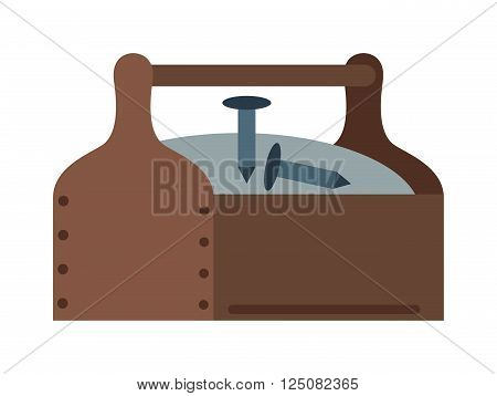 Toolbox with instruments construction work equipment vector. Toolbox home instruments vector. Toolbox and some instruments flat style. Toolbox with instruments vector isolated