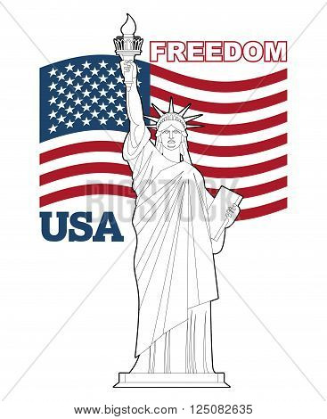 Statue Of Liberty And American Flag. Symbol Of Freedom And Democracy. Monument Of Architecture In Ne