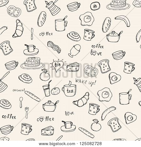 Various Breakfast items seamless vector pattern. Hand drawn breakfast  symbols.