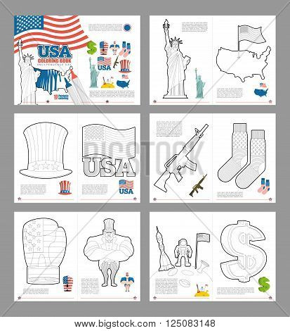 Usa Coloring Book. Patriotic Book For Coloring. National Symbols America. Statue Of Liberty And Uncl