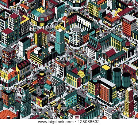 Colorful City Blocks Isometric Seamless Pattern (Medium) is hand drawing with perimeter blocks courtyards streets and traffic. Illustration eps8 vector; pattern repetitive; colors on separate layer.