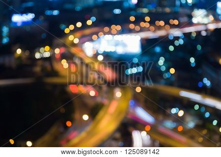 Abstract blurred lights, close up intersection city road at night