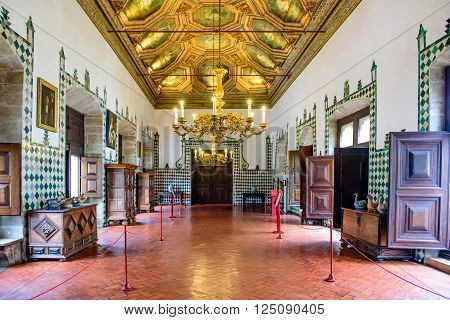 Sintra, Portugal - January 8: national Palace of Sintra, the interior of the main hall in January 8, 2016, in Sintra, Portugal.
