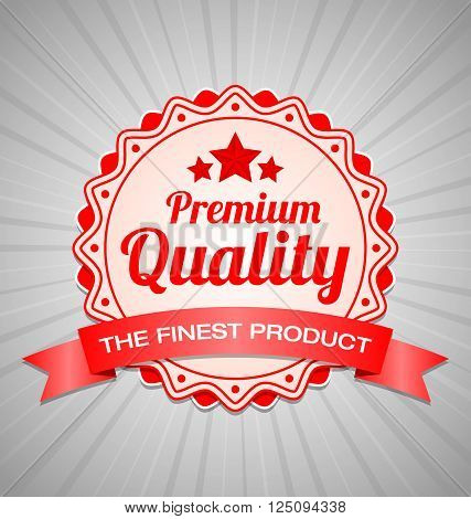 Red Premium Quality label with the finest product ribbon