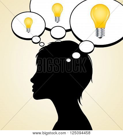 Woman silhouette with idea depicted by light bulbs in mind bubbles isolated on pale background