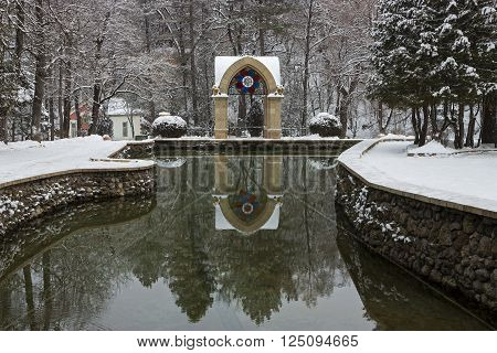 Mirror Pond in Resort parkthe largest in Russia.Resort park - ornament and pride of Kislovodsk,Caucasus,Russia
