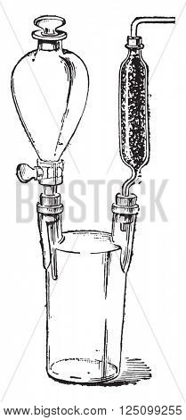 Apparatus for calcium carbide test, vintage engraved illustration. Industrial encyclopedia E.-O. Lami - 1875.