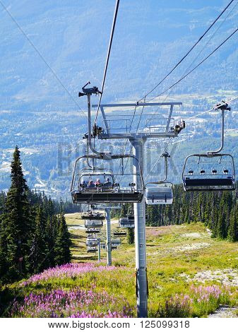 WHISTLER, BC, CANADA - August 18, 2015 : Solar Coaster Chairlift on Blackcomb Mountain, Whistler, BC. Whistler, BC, Canada, August 18 2015.