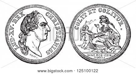 Token of the Royal Academy of Surgery, vintage engraved illustration. Magasin Pittoresque 1857.