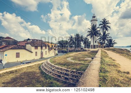 Pictorial view of light houe - Galle fort (Sri Lanka). Galle - the largest city and port in the south of Sri Lanka the capital of the southern province and a popular tourist destination