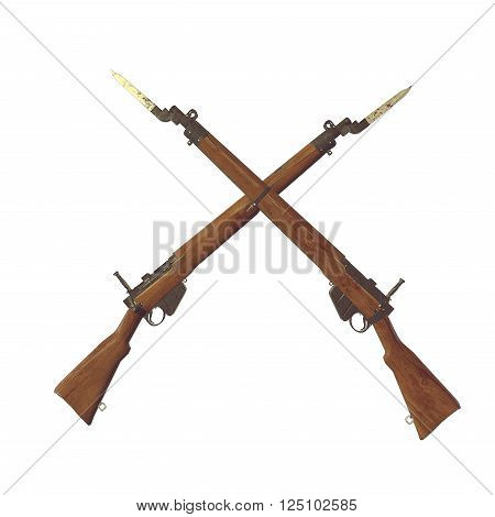 old rifles 3D illustration. cross weapons. icon guns. cracked wood barrel. bayonet knife with blood. white background