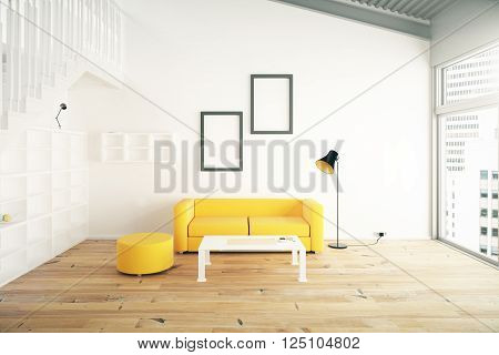 Living room interior design with yellow sofa blank picture frames shelves and beige walls. 3D Render