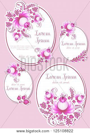 Greeting oval labels with pink floral ornament. Cards in four variants for Women's Day Mother's Day Bithday Anniversary. Vector illustration