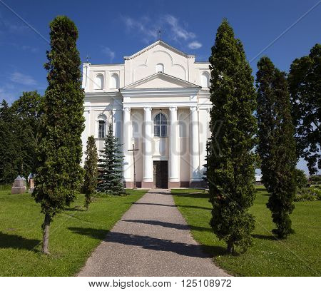 Catholic Church  built in 1785-1787 years , located in Ostrovec, Belarus , Church of Saints Cosmas and Damian poster
