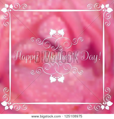 Greeting card with white ornament on pink floral blurred background. Postcard with wishes for Women's Day Mother's Day Bithday Anniversary. Vector illustration