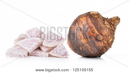 A taro roots are on white background