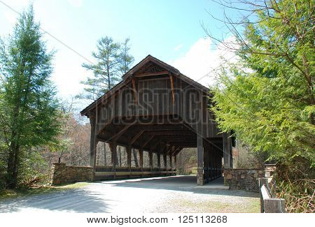 The Covered Wooden Bridge in DuPont State Forest in North Carolina
