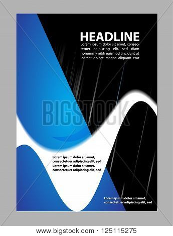 brochure folder leaflet vector template design blue