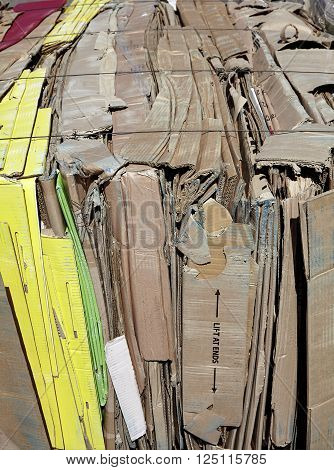 Cardboard compacted for recycling industry waste management