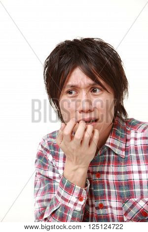 portrait of perplexed man on white background poster