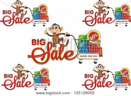 Big sale, set from 10% to 50%. A monkey with a shopping cart on a transparent background. Vector illustration