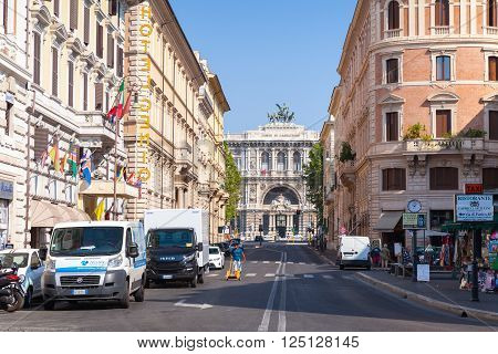 Rome, Italy - August 8, 2015: Street view of Via Giuseppe Zanardelli with Palace of Justice in the end. Ordinary people walk on the street in summer time